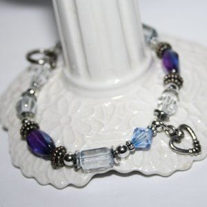Pretty heart toggle bracelet with silver and blue